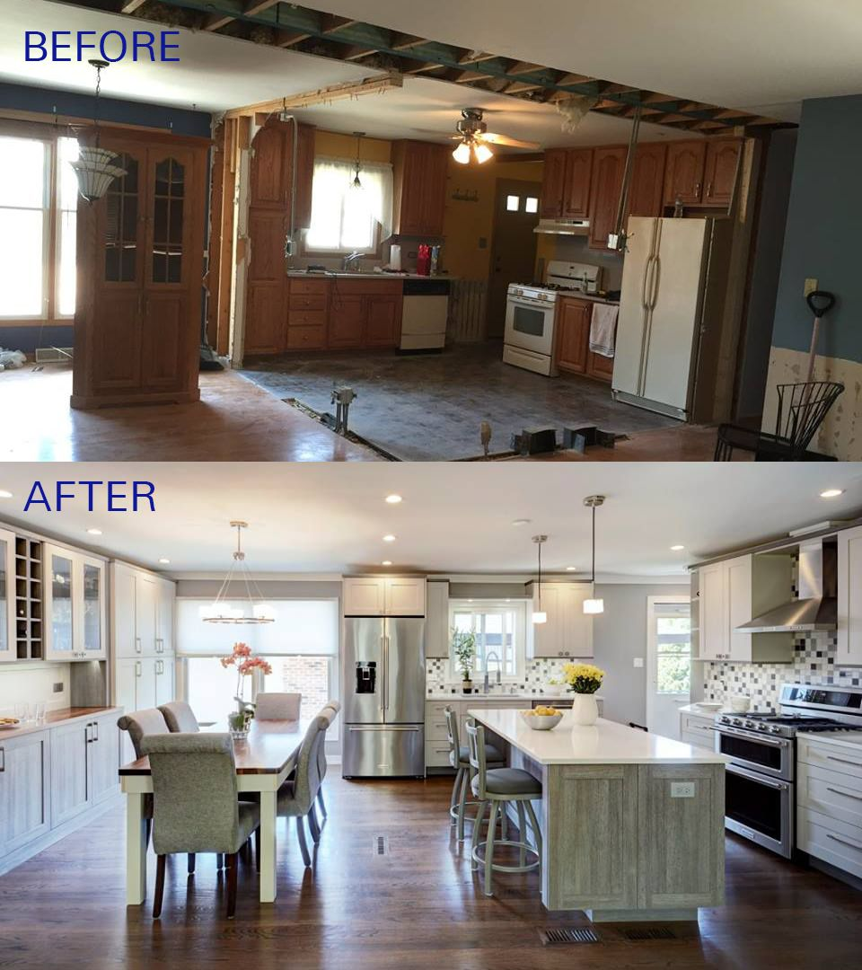 Before And After Of This Beautiful Open Concept Kitchen The Before Picture Was Taken Righ Kitchen Remodeling Projects Open Concept Living Room Home Remodeling #open #concept #kitchen #with #island #and #living #room