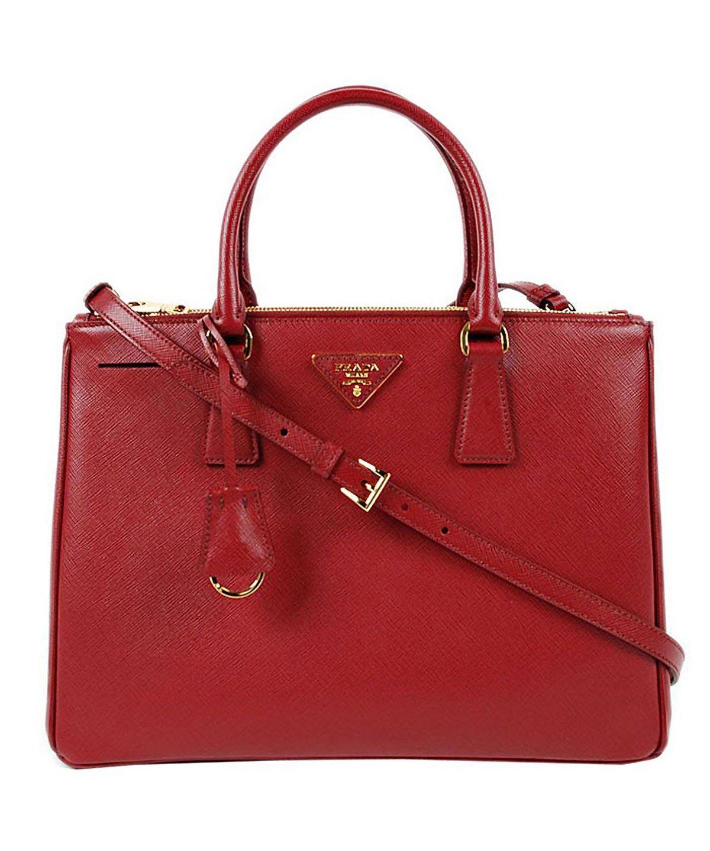 Prada Saffiano Leather Tote Handbag Red Bags Shoulder