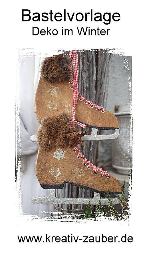 deko selber machen im winter shabby schlittschuhe weihnachten basteln pinterest. Black Bedroom Furniture Sets. Home Design Ideas