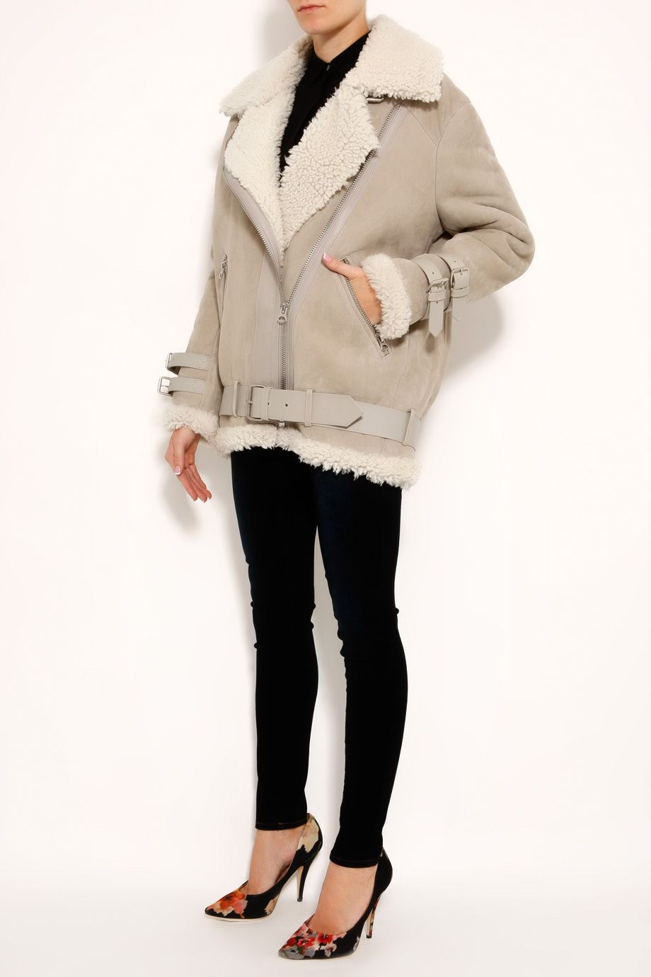 Acne Velocite Shearling Jacket in Gray (grey) | Lyst