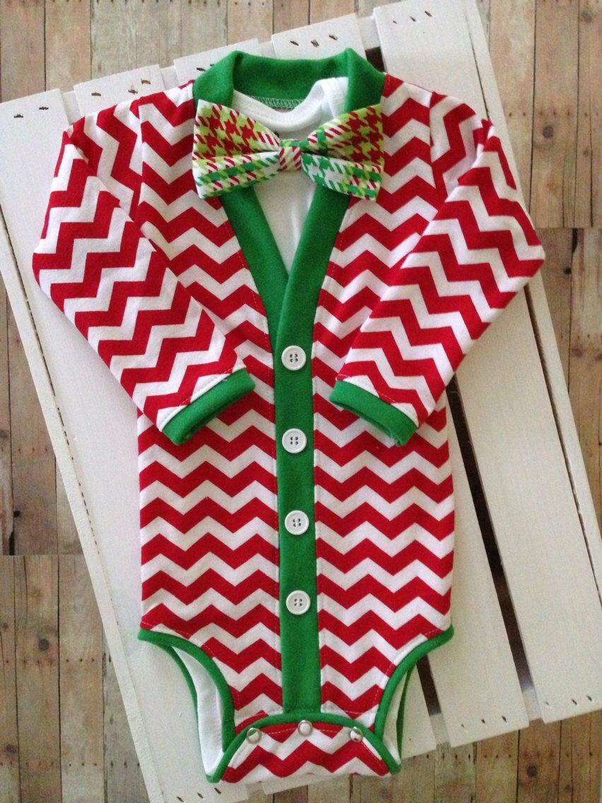 6e84914ec08b Christmas Holiday Baby Cardigan  Red Chevron Green Trim with ...
