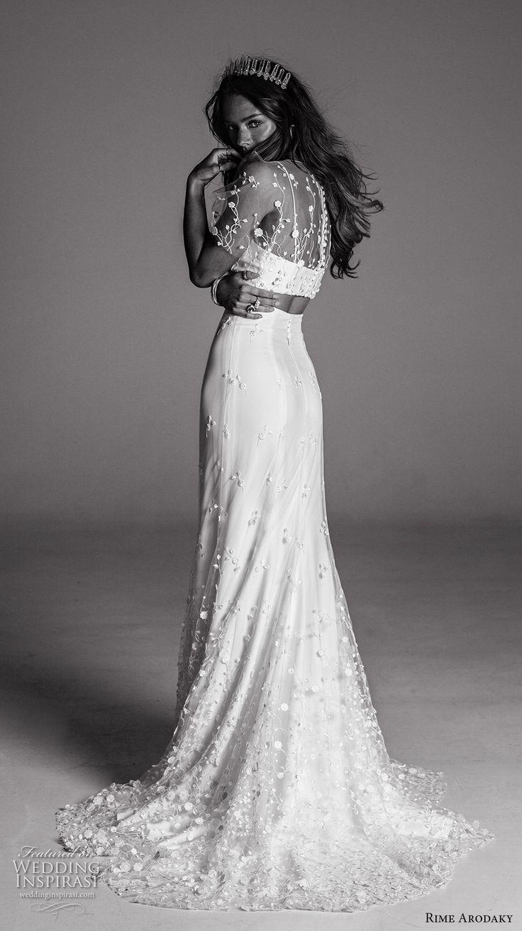 Rime arodaky fall bridal illusion butterfly sleeves spagetti