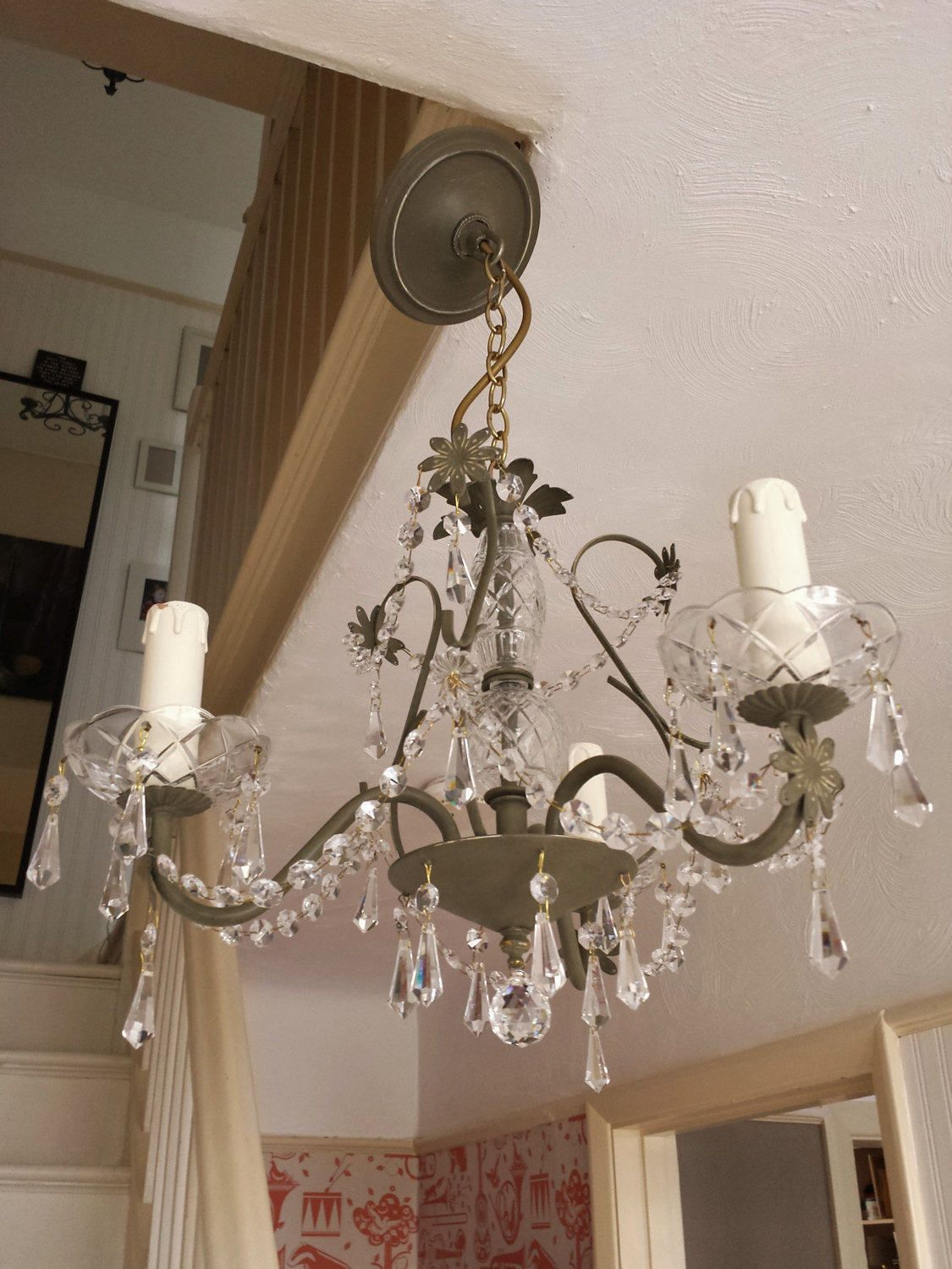 shabby chic lighting fixtures. Crystal Chandelier Lighting, Upcycled Ceiling Light In Olive Annie Sloan Chalk Paint, Modern Pendant Lighting Fixture, Shabby Chic Decor By Fixtures H