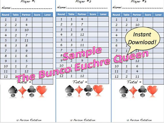 Person Euchre Rotation Printable Score By Thebuncoeuchrequeen