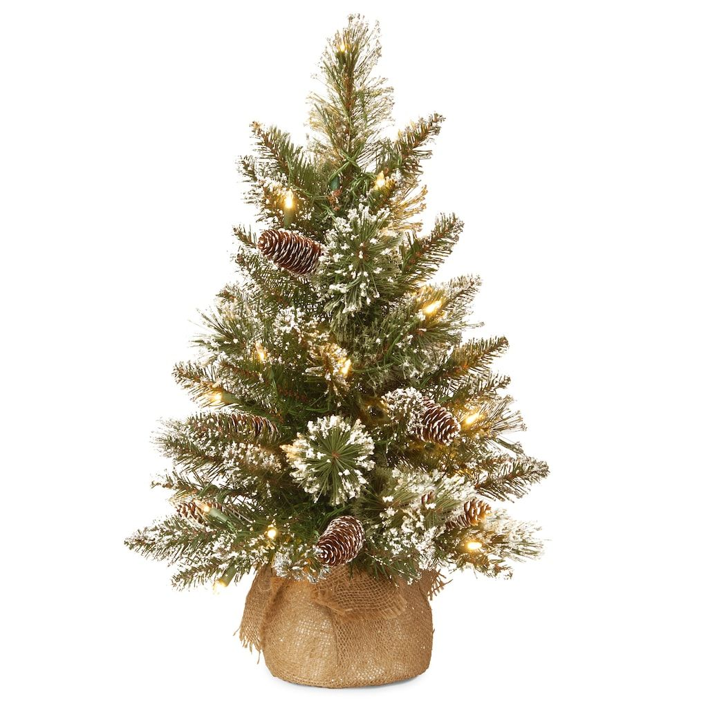2Ft PreLit Glittery Bristle® Pine & Burlap Artificial