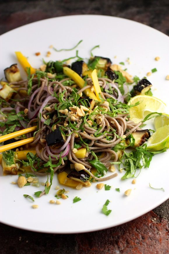 cold soba noodles with eggplant and mango, red onion, basil, cilantro #soba