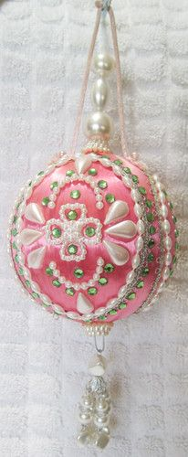 Highly Decorated Vintage Pink Satin Christmas Ornament | eBay