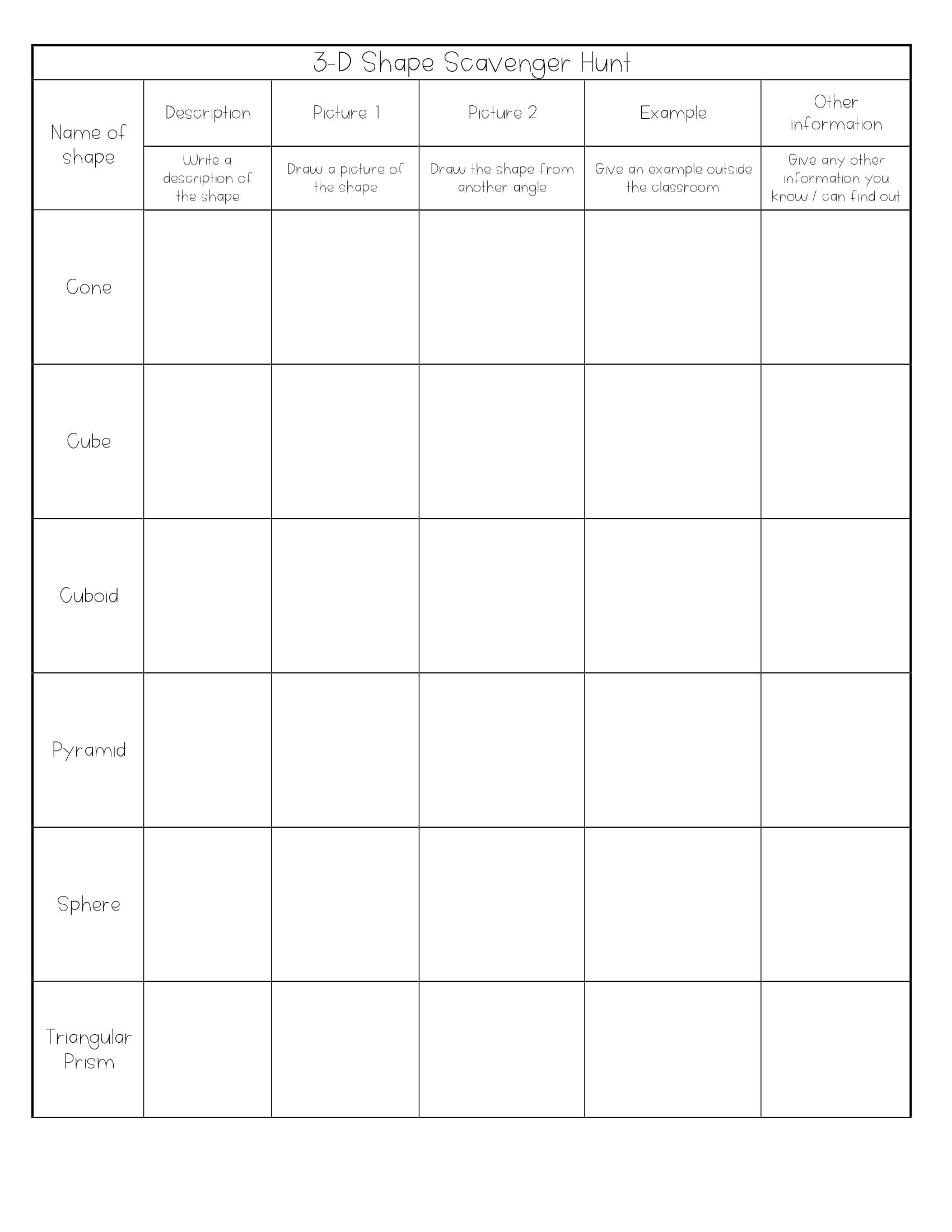 A Worksheet To Identify 3d Shapes And Their Attributes