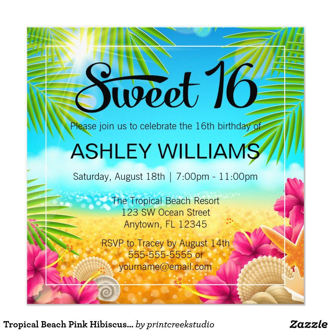 Tropical Beach Pink Hibiscus Sweet 16 Birthday Card | Sixteenth ...
