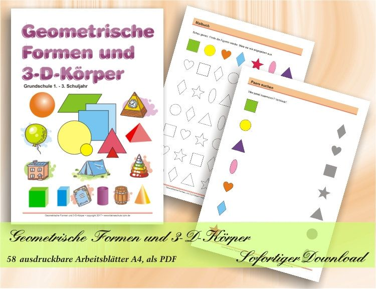 Geometrische Formen und 3-D-Körper - Grundschule 1.- 3. Schuljahr ...