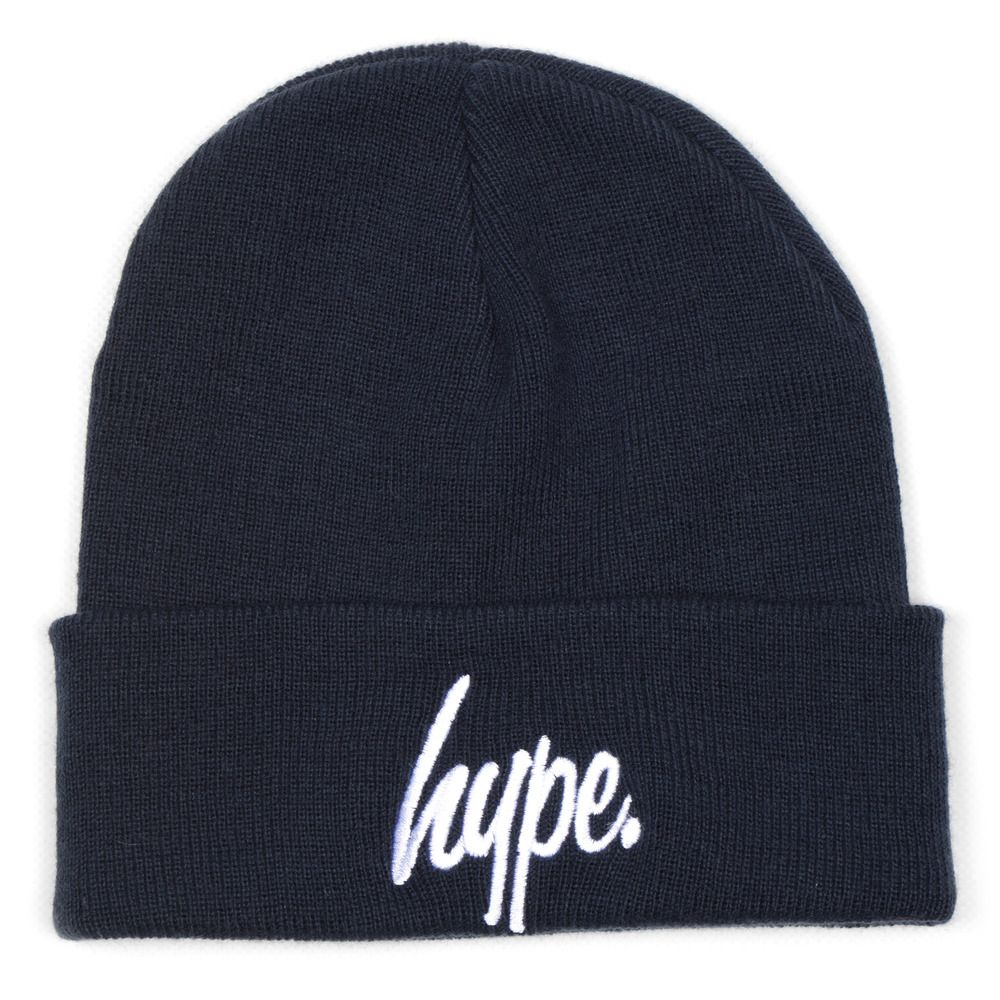 Bobble Beanie In Purple With Logo - Navy Hype ig9N5