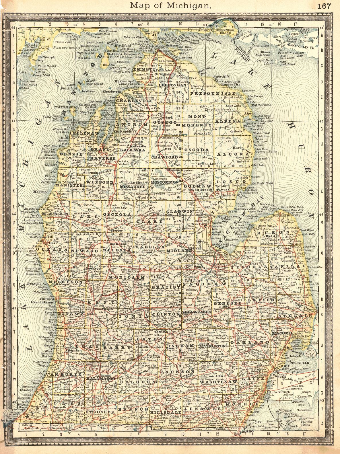 Map Antique  Map of Northern Michigan and Lake Superior  | Map of