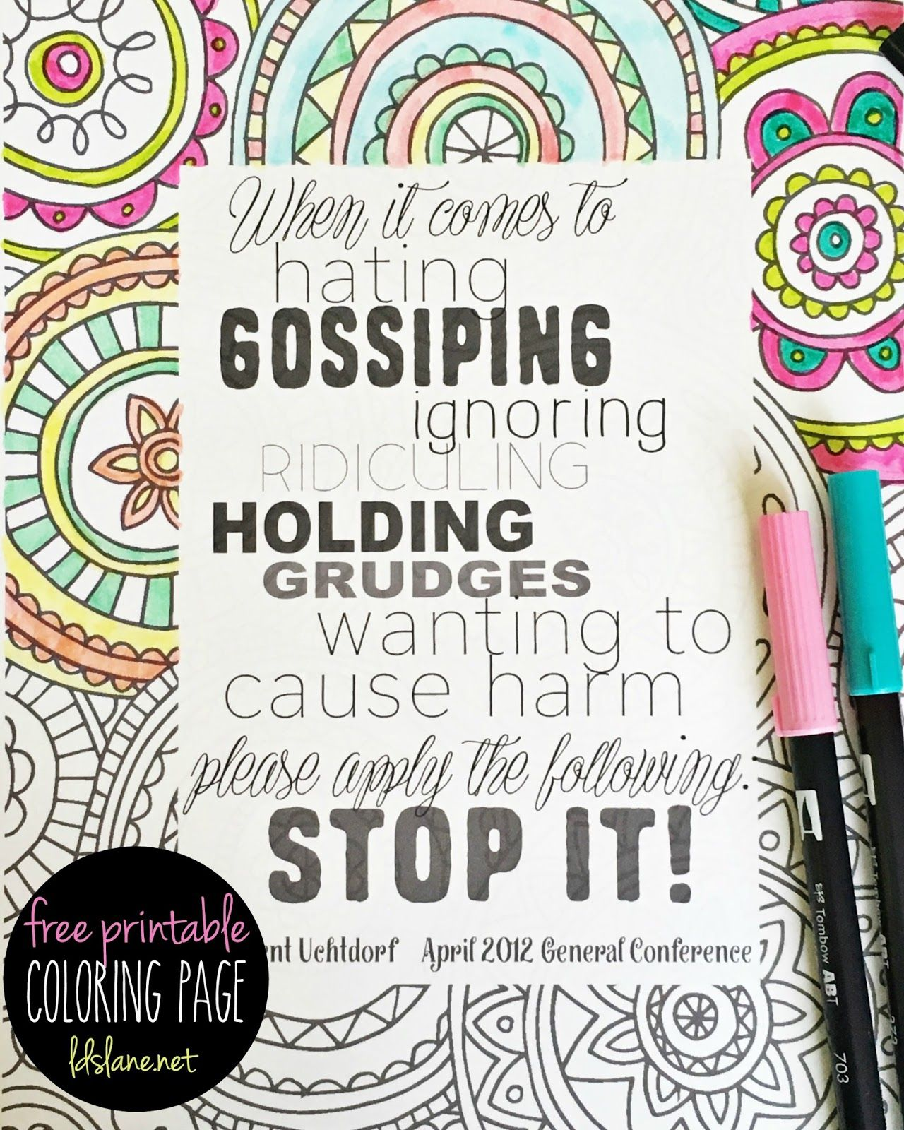 Free coloring pages lds - Lds Quote Coloring Page Free Printable Ldslane Net