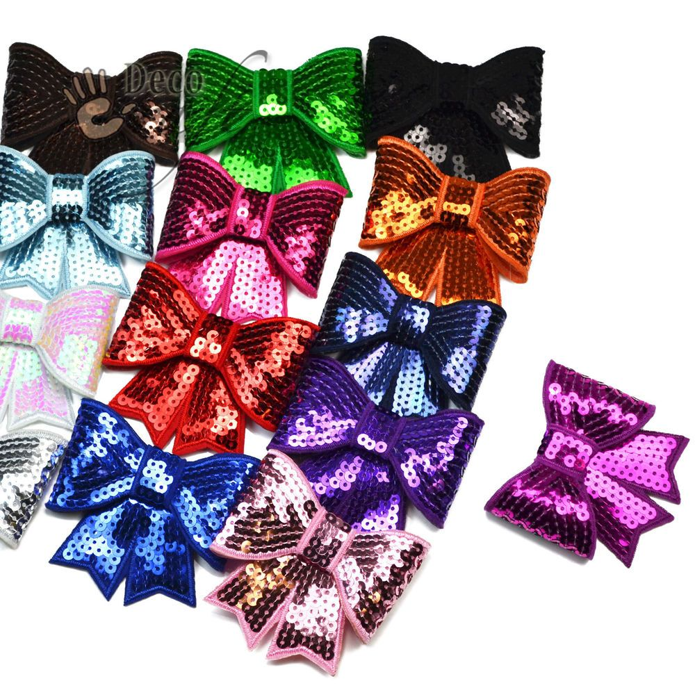 Large 75mm Glitter Sequin Bow Tie Sew Glue On Lique Diy Craft Hair Accessory