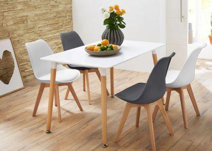Esszimmer Tisch Minimalistisch In Weiß Und Grau