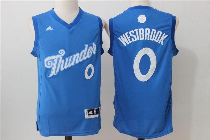 the best attitude 704e0 15e29 Men 0 Russell Westbrook Jersey Christmas Blue Oklahoma City Thunder Swingman
