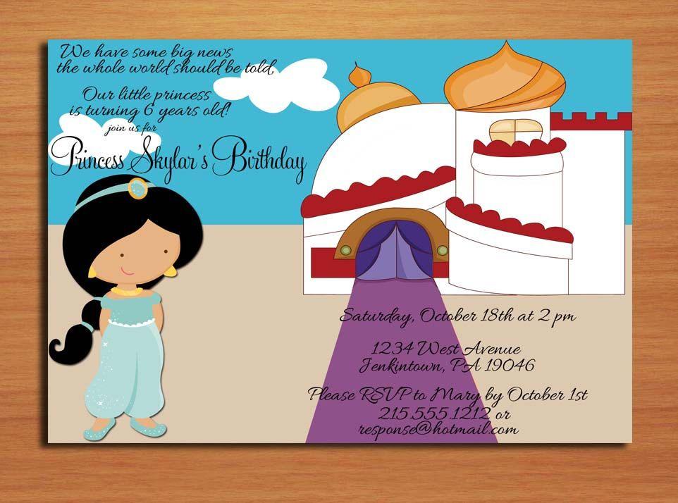 Princess Jasmine Aladdin Birthday Party Invitation Cards – Princess Jasmine Birthday Card