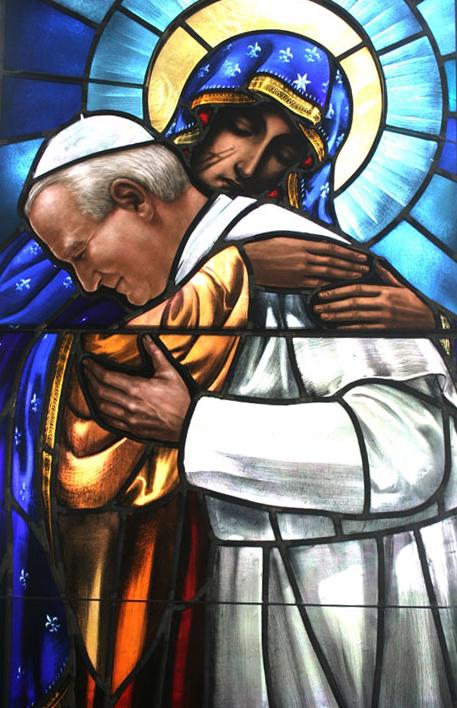 Resultado de imagem para A oração do Papa João Paulo II à Virgem Negra de Czestochowa,representada em vitral
