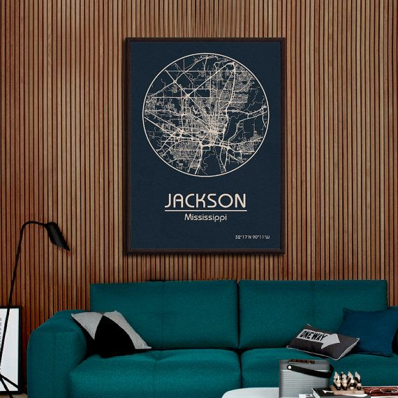 JACKSON Mississippi Street City Map Art Print United by ArchTravel
