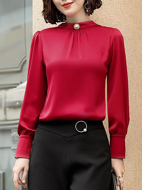 2c2f4bdc9e0468 Buy Long Sleeve Blouses For Women from At.$$ at Stylewe. Online Shopping Stylewe  Long Sleeve Red Green Apricot Women Blouses For Work Stand Collar Polyester  ...