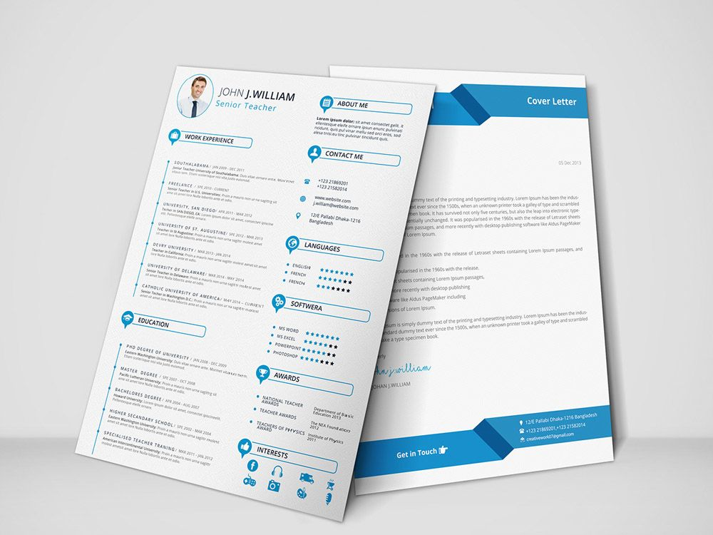 Free Teacher Resume Template With Cover Letter freebie Pinterest