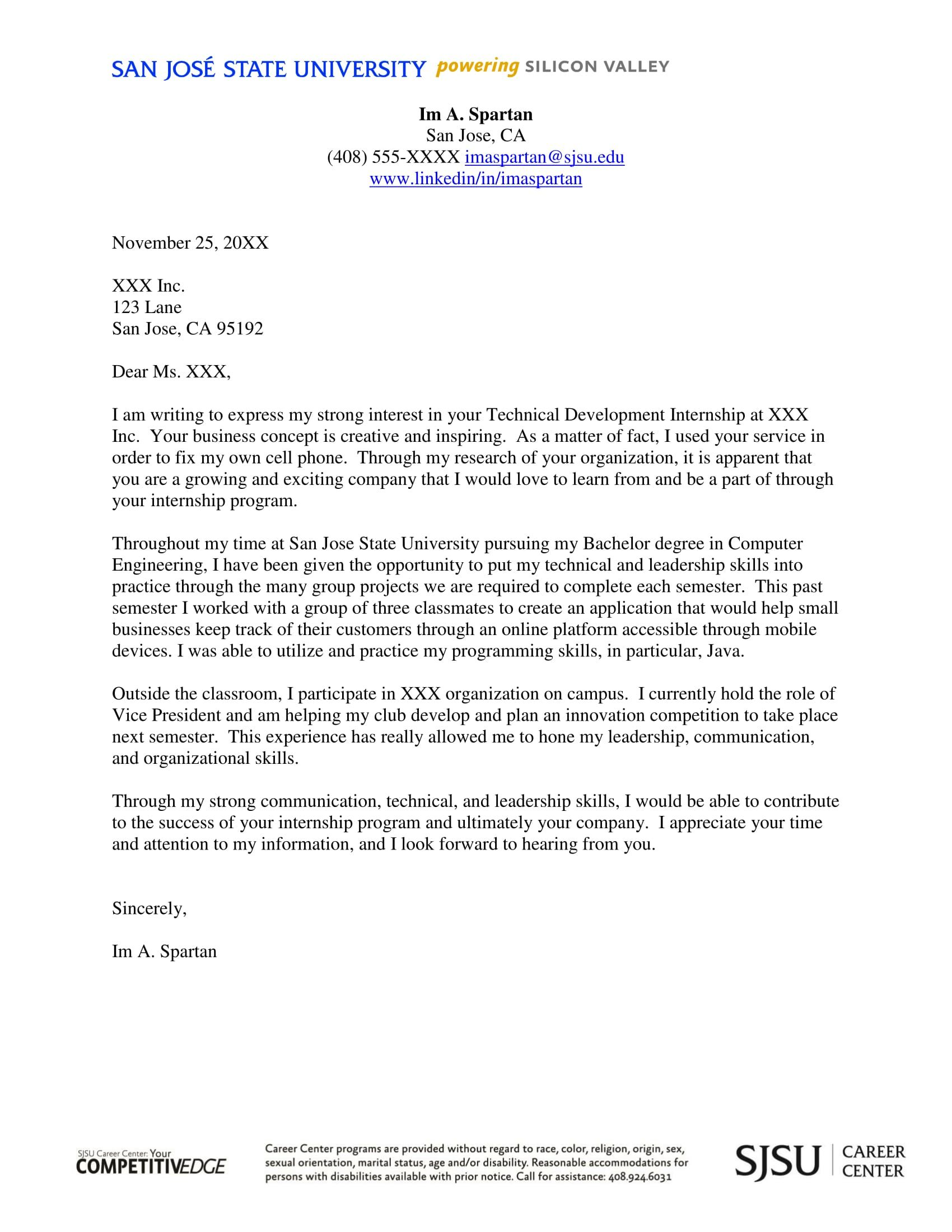 Cover Letters For Internships 30 Cover Letter Examples For Internship Cover Letter Examples