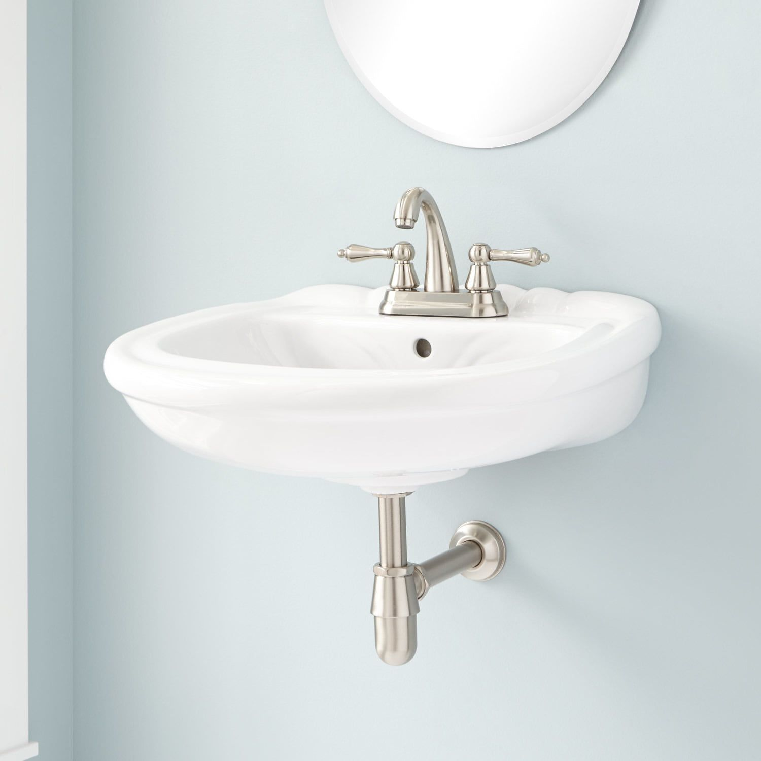 The Nantiby Wall Mount Sink Combines Modern Design With Classic Style Victorian Flairs Such As Curved Markin Wall Mount Sink Sink Wall Mounted Bathroom Sinks [ 1500 x 1500 Pixel ]