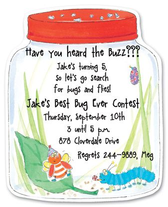 Google image result for httpmyexpressionprodimages this bug jar die cut invitation is prefect for children related activities great for kids birthday party invitations filmwisefo