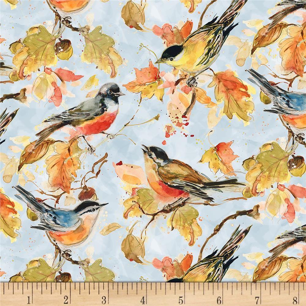 Wilmington Forest Dance Birds Allover Light Blue #birdfabric