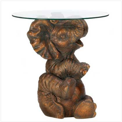 Elephant Coffe Tables | Discontinued Elephant Accent Table Item 13072 A  Baby Elephant Perches .
