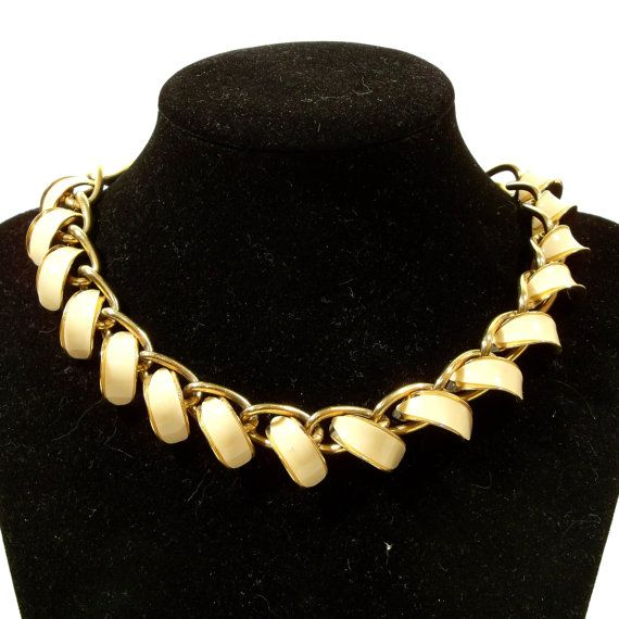 Vintage Mad Men Necklace Choker  50s 60s Ivory Gold by Revvie1, $18.00