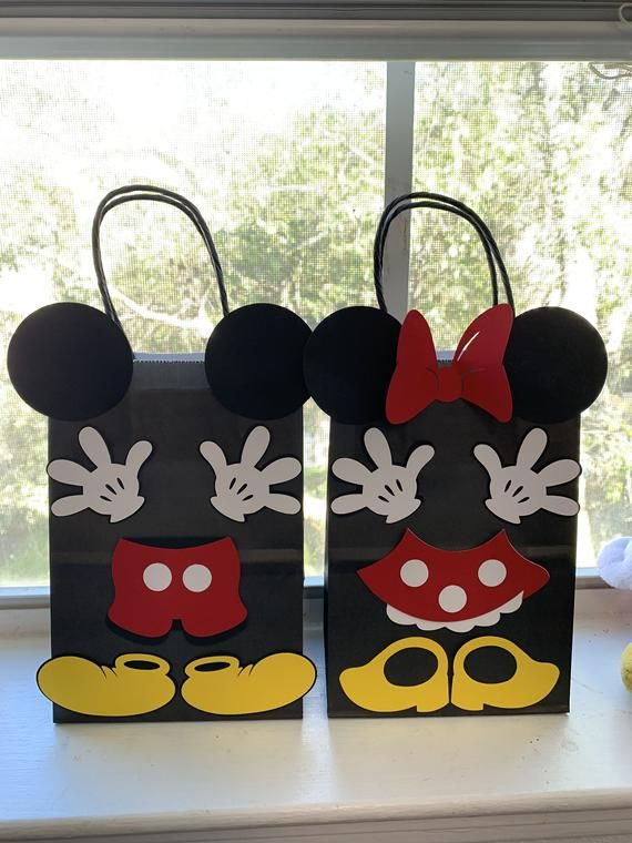 Set of 10 Mickey and Minnie Mouse Birthday Party Favors/ Goodies/ Goody/ Candy/ Treat Bags/ Supplies/ Decoration