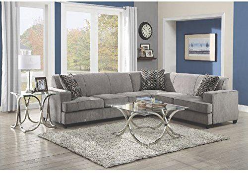 reputable site 8a97c 59f5b Amazon.com: Coaster Tess Casual Grey Sectional Sofa: Kitchen ...
