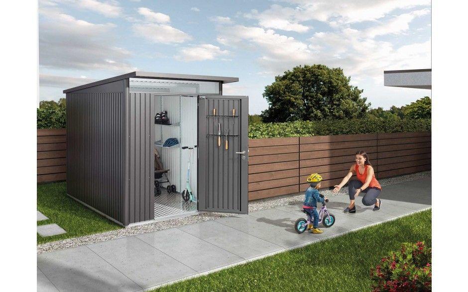 Modernes Metall Geratehaus Mit Pultdach Schuppen Ideen Gartenhaus Metall Biohort