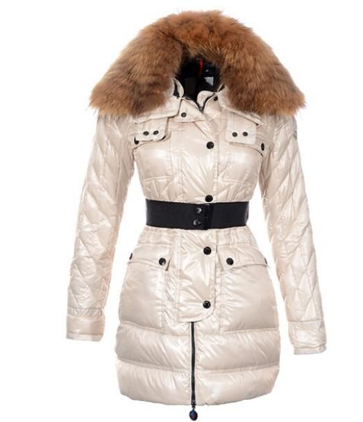 Moncler Safran Coats Women Shiny Fabric Beige Long #moncler #longcoats  #blackcoats #black