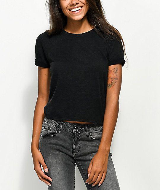 35d82b84 Zine Abena Black Crop T-Shirt | Knuckle Cuts, Pizza Crust | Crop ...