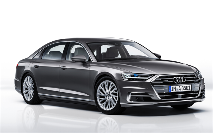 Download Wallpapers Audi A8 L 2018 4k Luxury Cars Gray A8 Sedan German Cars Audi Besthqwallpapers Com In 2020 Audi A8 Audi Sedan
