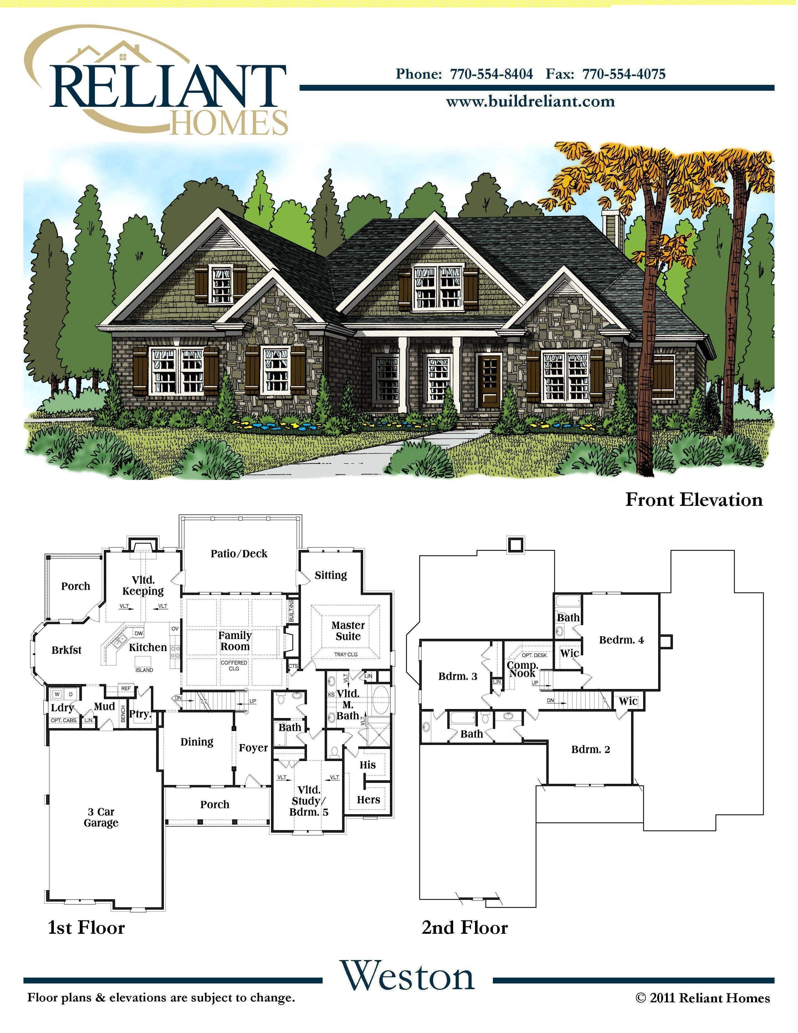 Reliant Homes | The Weston Plan | Floor Plans | Homes | Homes for ...