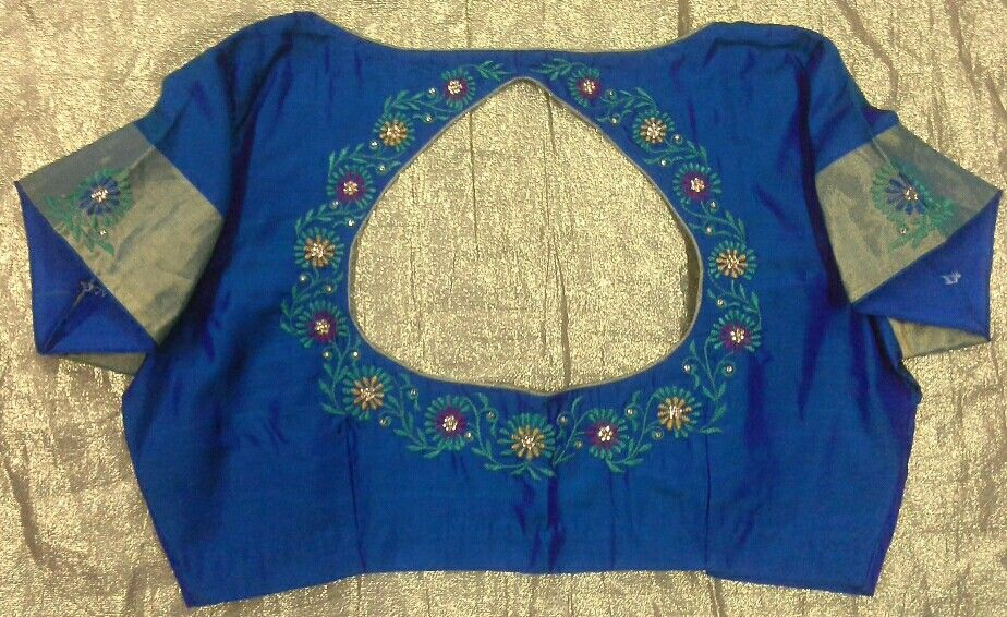 Pattu Blouse With Machine Embroidery 7702919644 Designer Blouses