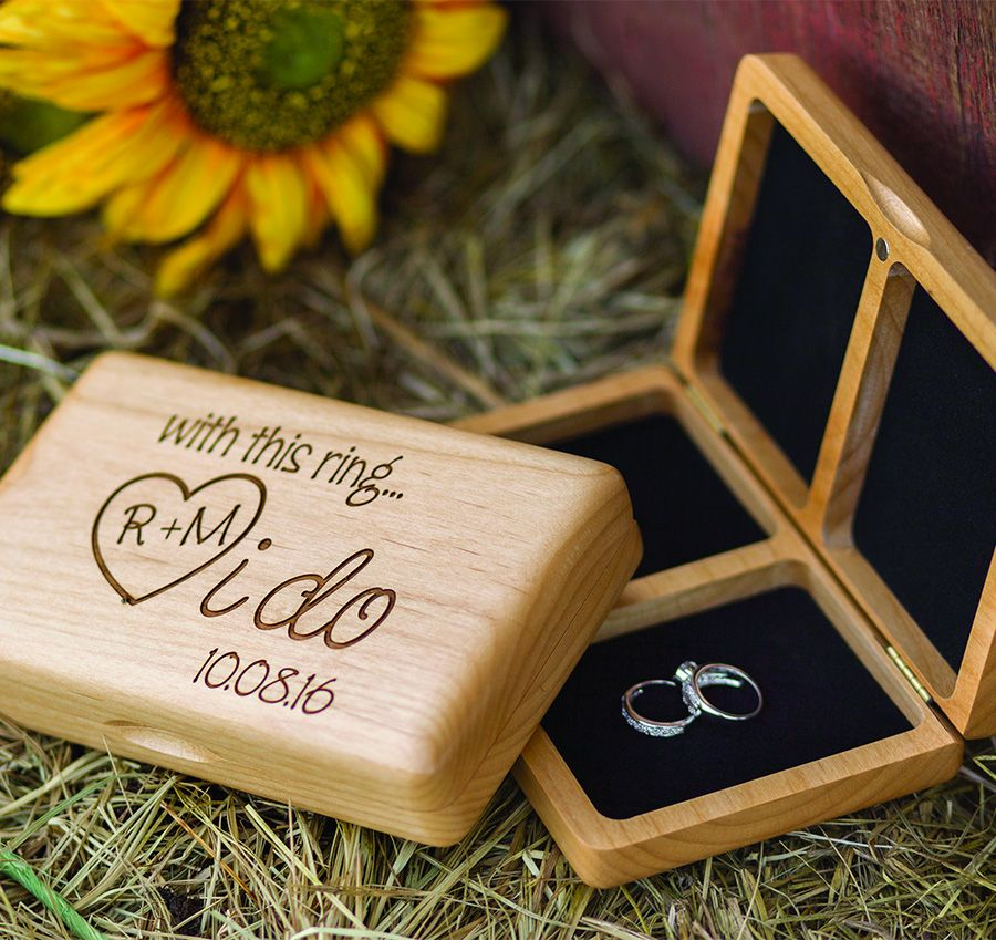 This personalized I Do Wooden Ring Box will make a great