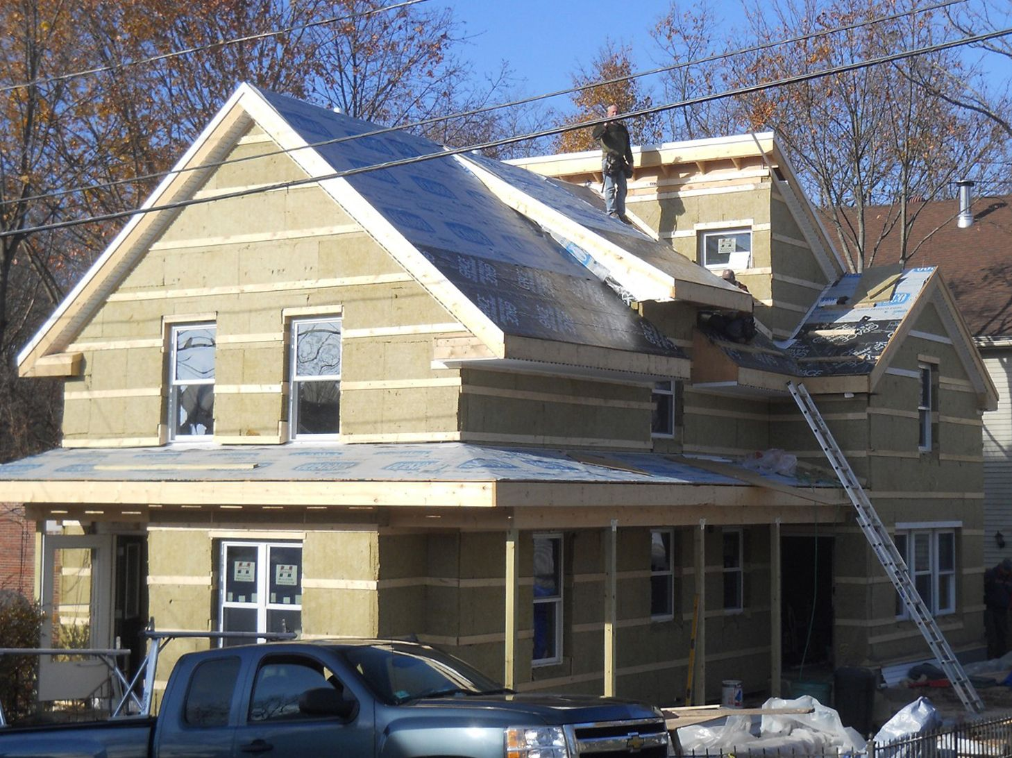 Wrapping An Older House With Rock Wool Insulation Exterior Insulation Rock Wool Insulation House Exterior