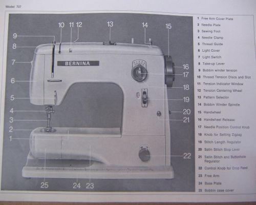 Instructions Manual for a Bernina 707 717 Sewing Machine