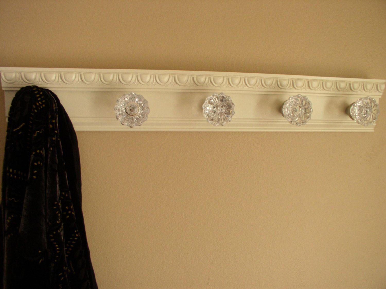 Beautiful Coat Rack With 5 Glass Door Knobs And By Gotahangup, $61.00