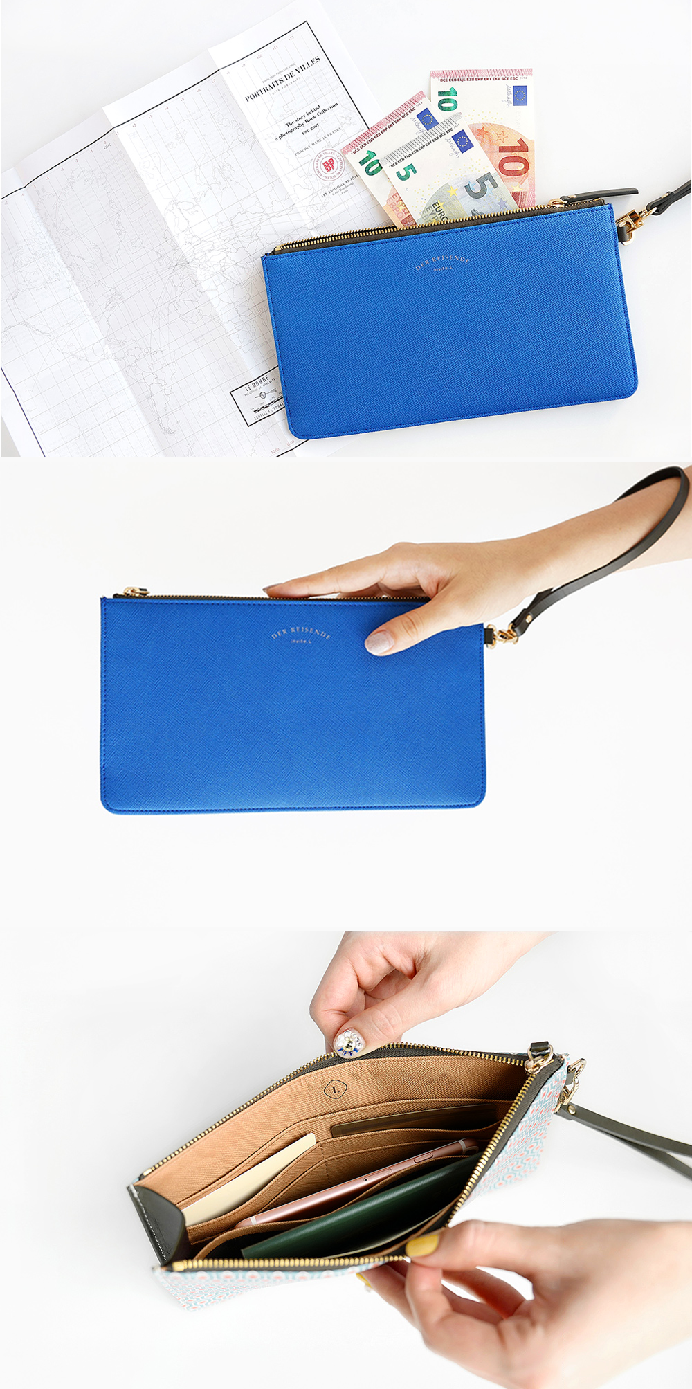 The perfect little clutch for travel and nights out? This Leather Slim Clutch! This slim and compact clutch is full of pockets and card slots for all your necessities. The colorful geometric patterns, sturdy design, and handy wrist strap make this a must have accessory. Check it out and see all the gorgeous details on our site!