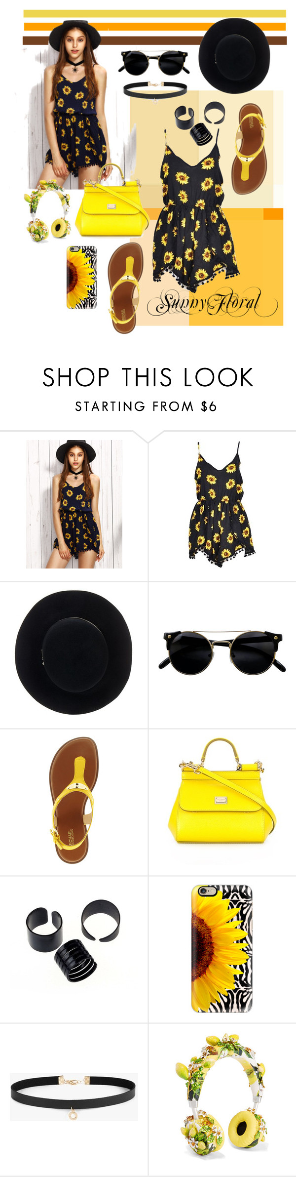"""Sunny Floral"" by tainted-scars ❤ liked on Polyvore featuring Eugenia Kim, Michael Kors, Dolce&Gabbana, Casetify and Azalea"