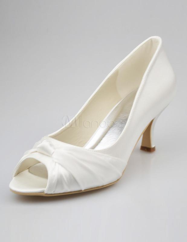 Schöne Damen Brautschuhe mit Peeptoes und niedrigen Heels - Milanoo ... d4acea0c05