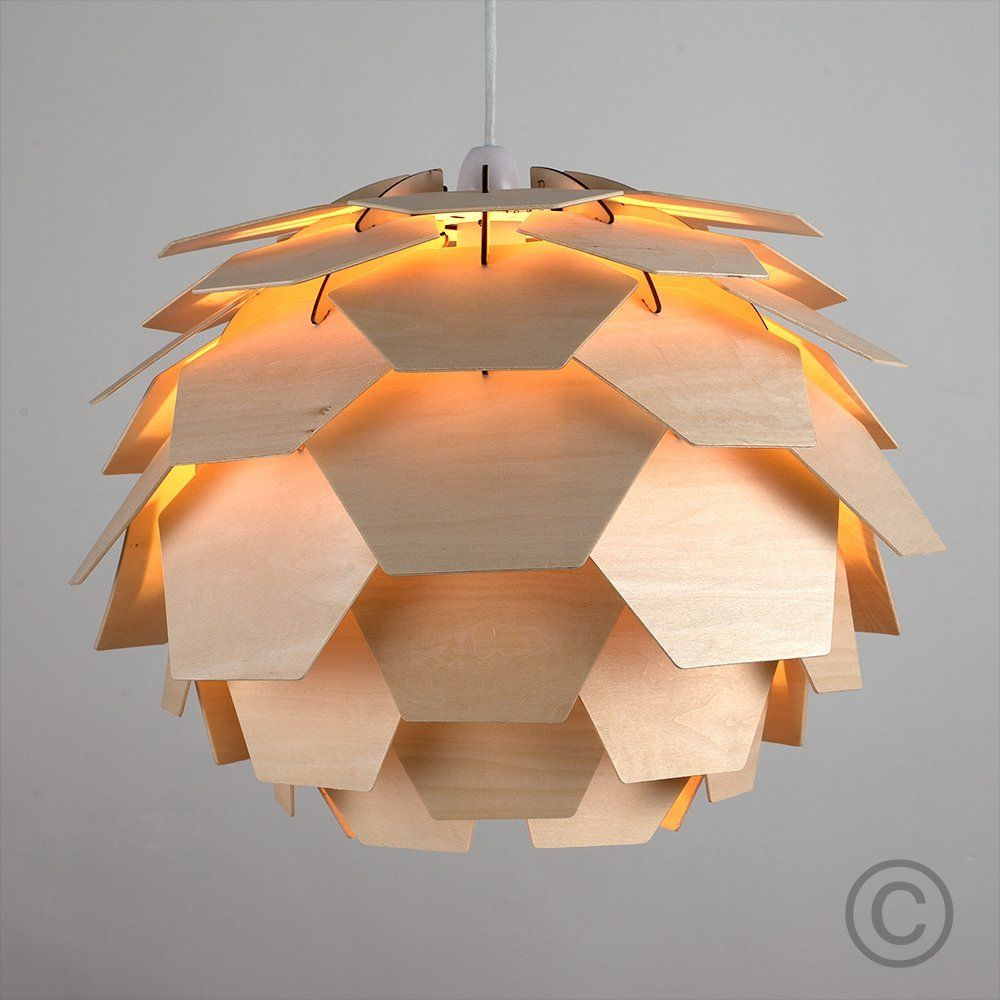 modern designer layered wood artichoke ceiling pendant light shade