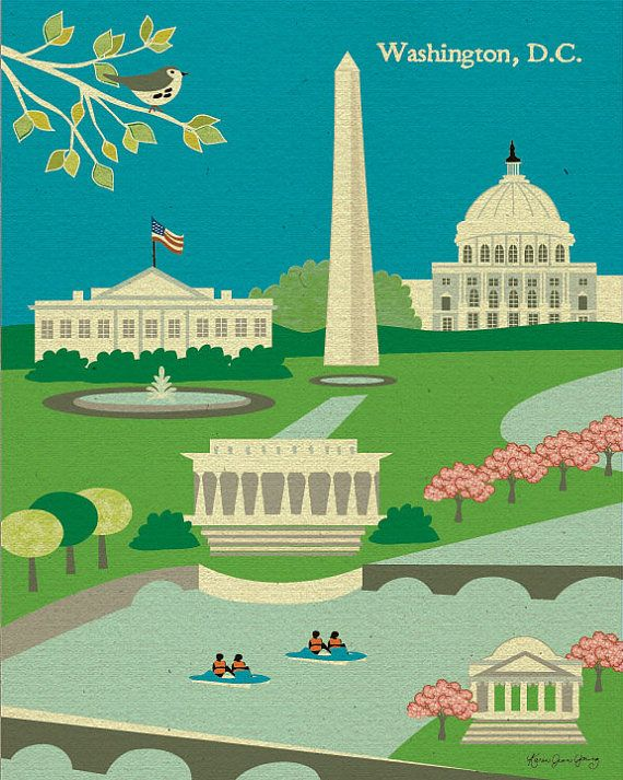 Washington DC monuments and cherry blossoms print on #Etsy