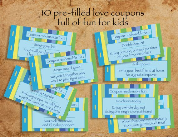 Kids printable love coupon book - blank  pre-filled love coupons to - Coupon Book Printing