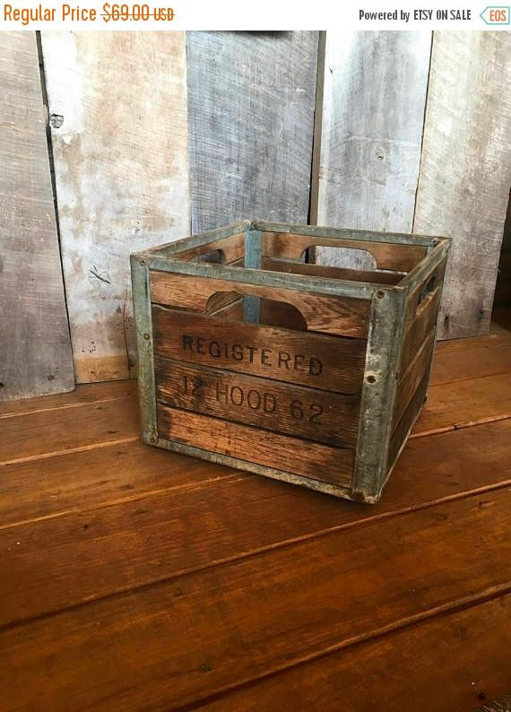 Vintage Wood Metal Crate Galvanized Milk Crate Box Hood 62 Decor Storage Rustic Farmhouse Country Cabin Cottage Repurpose Container Wedding Milk Crates Vintage Wood Crates